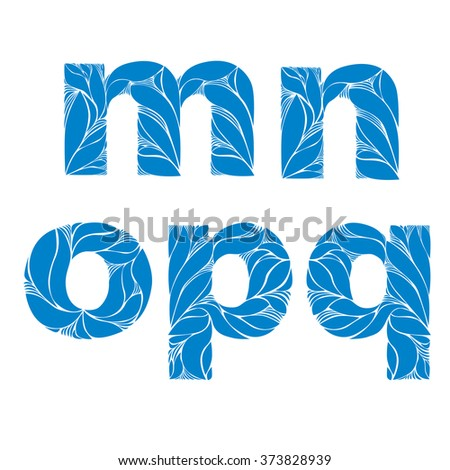 Herbal style blue vector font, typeset with floral elegant ornament. m, n, o, p, q, lowercase letters. - stock vector