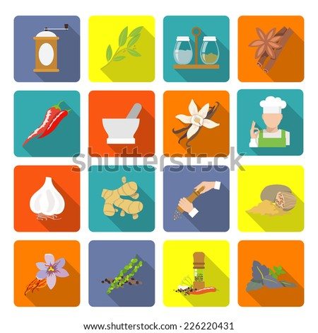 Herbs and spices flat icons set of ginger cinnamon mortar and pestle isolated vector illustration - stock vector