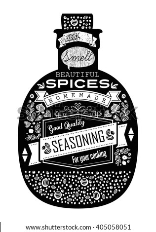 Herbs and spices in a glass jar with vintage style background and labels. For restaurant and kitchen menu design.