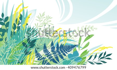 Herbs in the Meadow - stock vector
