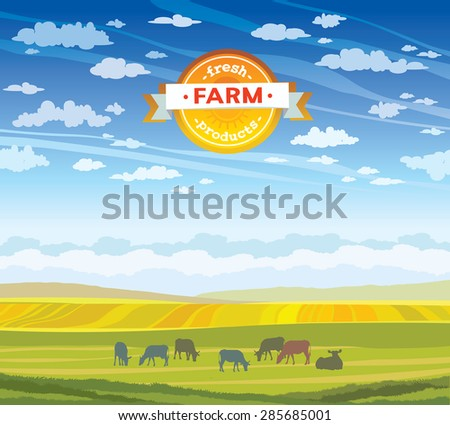 Herd of cows in green field on a cloudy sky. Vector summer rural landscape. - stock vector