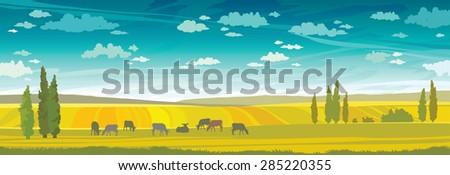 Herd of cows in green field on a sunset sky. Vector rural summer landscape. - stock vector