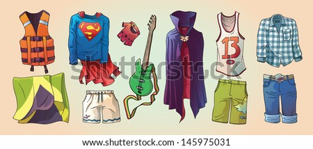 Here are the some original cartoon vector clothes, the life vest, Jamaican flag and the bass guitar. - stock vector