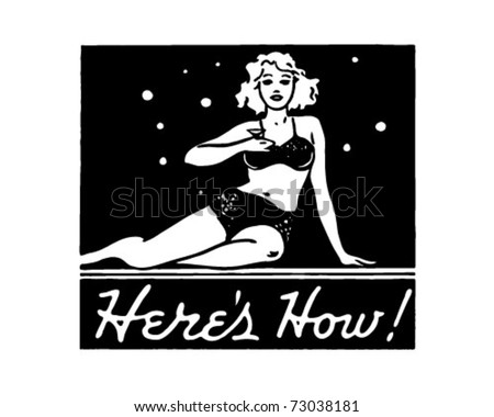 Here's How - Retro Ad Art Banner - stock vector