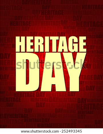 Heritage Day with same text on red gradient background.