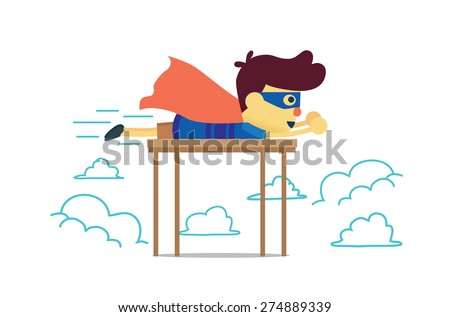 Hero boy flying in imagine sky with lie prone on a table and play alone