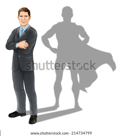 Hero businessman concept, illustration of a confident handsome business man standing with his arms folded with superhero shadow - stock vector