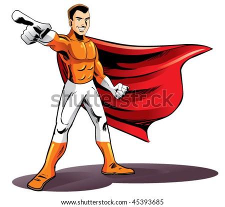 hero pointing - stock vector