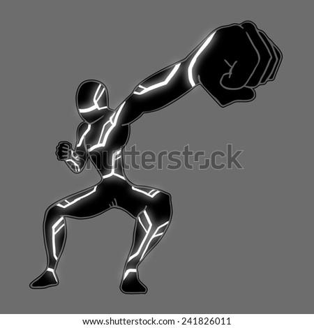 Hero punch - stock vector