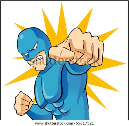 hero punching - stock vector