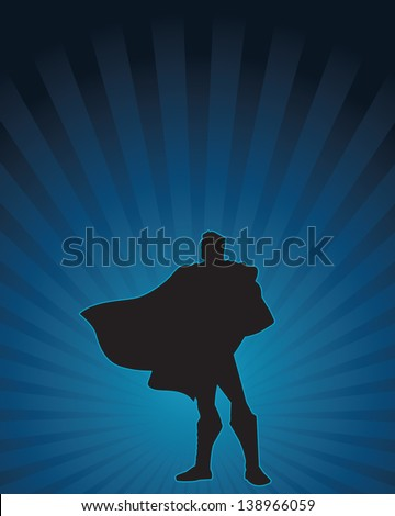 Heroic silhouette of a confident male figure. - stock vector