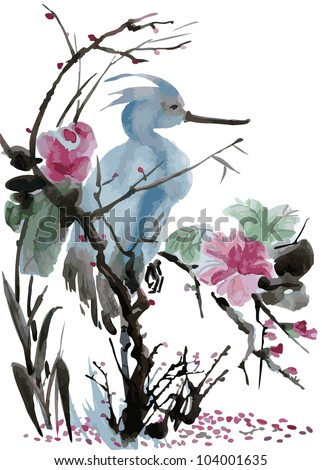 Heron in the flowers and sakura blossom. Vectorization watercolor painting. - stock vector