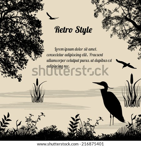 Heron silhouette on lake on retro style background, vector illustration - stock vector