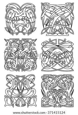 heron stork crane birds ornaments patterns stock vector 371415124 shutterstock. Black Bedroom Furniture Sets. Home Design Ideas