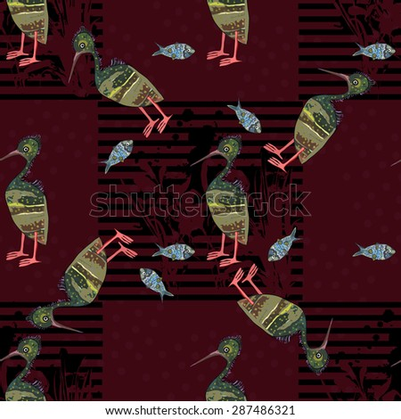 Herons and fish on a brown background. Seamless. - stock vector