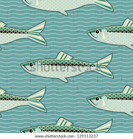 herring seamless pattern.Vector fish background for texture