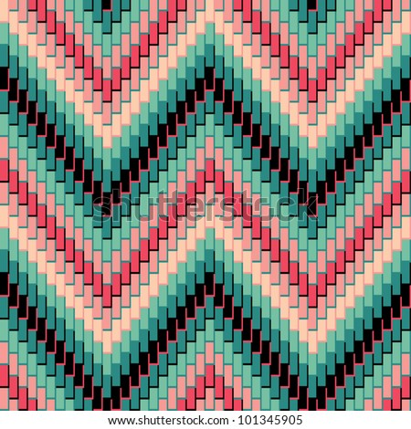 Herringbone Pattern in green and pink repeats seamlessly. Colors are grouped for easy editing. - stock vector