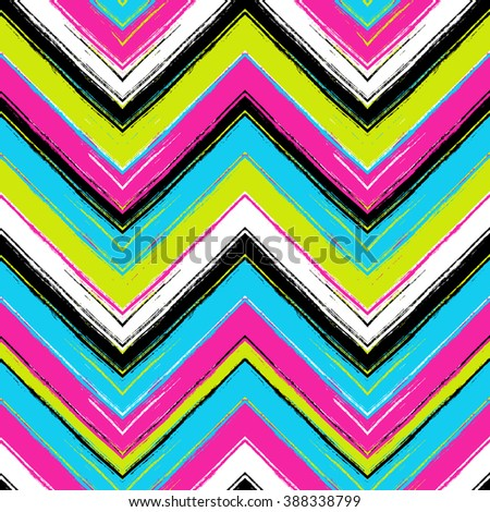 Herringbone striped brush srokes vector seamless pattern. Ethnic texture - stock vector