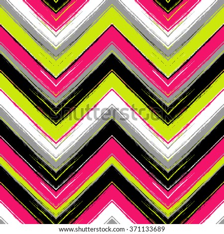 Herringbone striped brushsrokes vector seamless pattern. Ethnic texture - stock vector