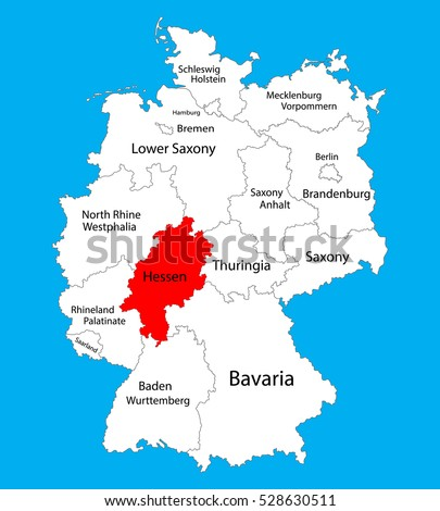 Hesse Hessen State Map Germany Vector Stock Vector 528630511