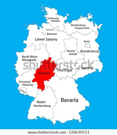 Hesse Hessen State Map Germany Vector Stock Vector 528630511