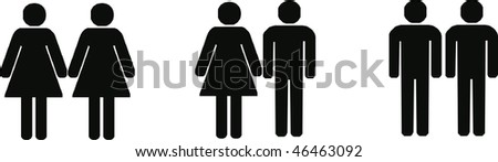 heterosexual, lesbian and gay couples - isolated vector illustration - stock vector
