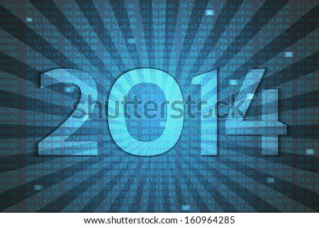 hex codes with 2014 vector background, new year concept - stock vector