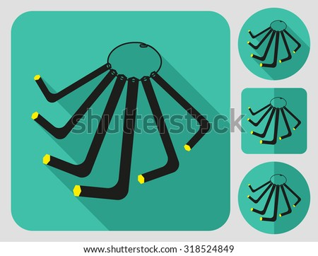 Hex key icon. Bike accessories. Flat long shadow design. Bicycle icons series. - stock vector
