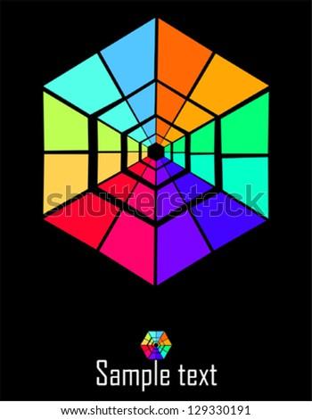 Hexagon - abstract design element - stock vector