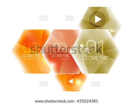 Hexagon abstract geometric background with shiny light effects. Vector info ui elements - stock vector