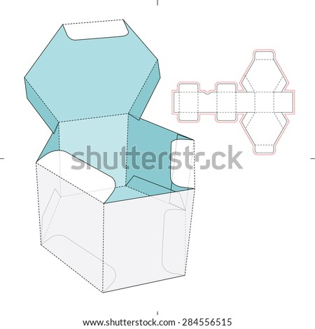 Hexagon Box with Flip-flop Lid and Die-cut Pattern - stock vector