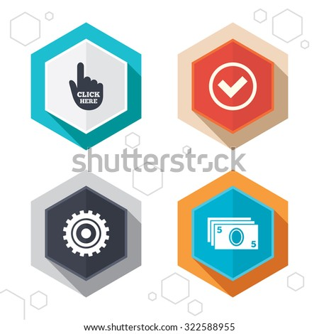 Hexagon buttons. ATM cash machine withdrawal icons. Click here, check PIN number, processing and cash withdrawal symbols. Labels with shadow. Vector