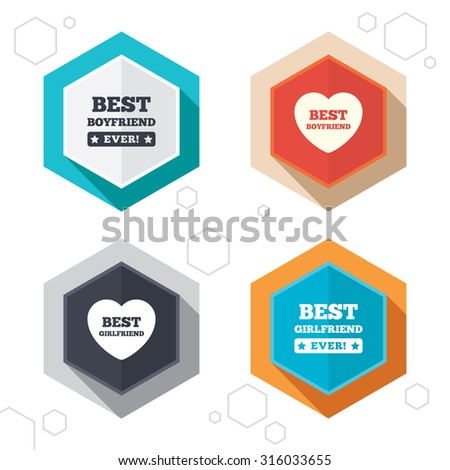 Hexagon buttons. Best boyfriend and girlfriend icons. Heart love signs. Award symbol. Labels with shadow. Vector - stock vector