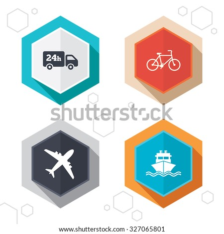Hexagon buttons. Cargo truck and shipping icons. Shipping and eco bicycle delivery signs. Transport symbols. 24h service. Labels with shadow. Vector - stock vector