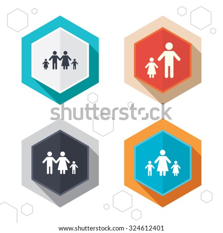 Hexagon buttons. Family with two children icon. Parents ...