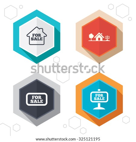 Hexagon buttons. For sale icons. Real estate selling signs. Home house symbol. Labels with shadow. Vector - stock vector