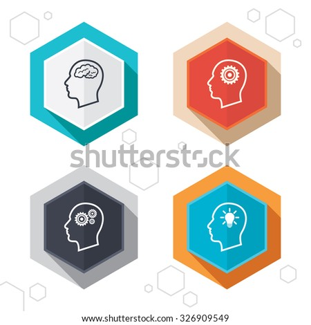 Hexagon buttons. Head with brain and idea lamp bulb icons. Male human think symbols. Cogwheel gears signs. Labels with shadow. Vector
