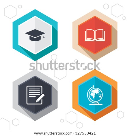Hexagon buttons. Pencil with document and open book icons. Graduation cap and geography globe symbols. Learn signs. Labels with shadow. Vector