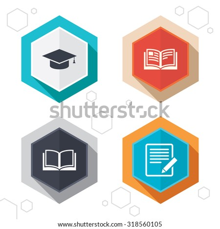 Hexagon buttons. Pencil with document and open book icons. Graduation cap symbol. Higher education learn signs. Labels with shadow. Vector