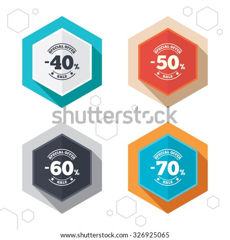 Hexagon buttons. Sale discount icons. Special offer stamp price signs. 40, 50, 60 and 70 percent off reduction symbols. Labels with shadow. Vector