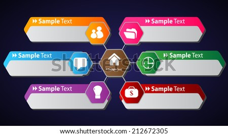 hexagon colorful modern text box template for website and graphic, numbers, icon.  - stock vector