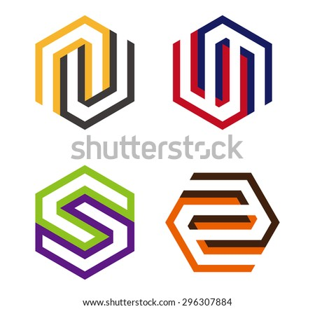 Hexagon Element Hexagram Logo Symbol You Stock Vector 296307884