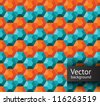 Hexagon geometric seamless pattern in orange and turquoise color - stock vector