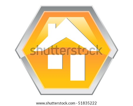 Hexagon House Design Button Icon - stock vector