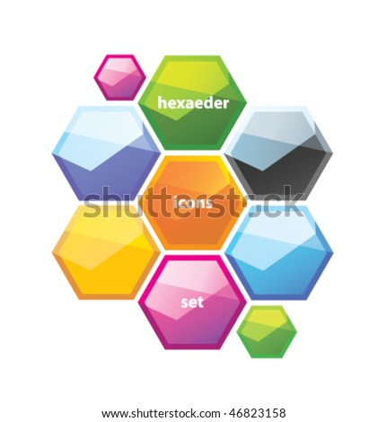 hexagon icons set - stock vector