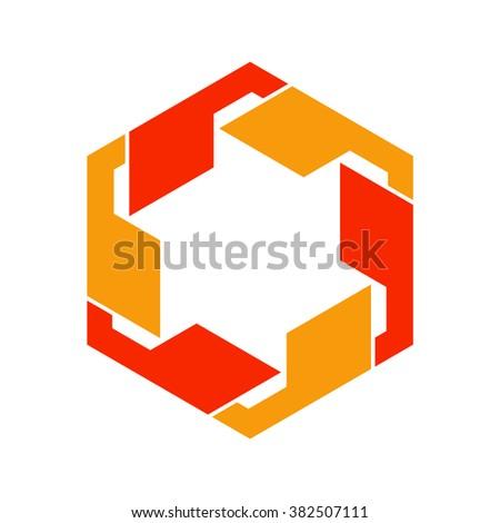 hexagon logo vector quote comma logo stock vector 382507123