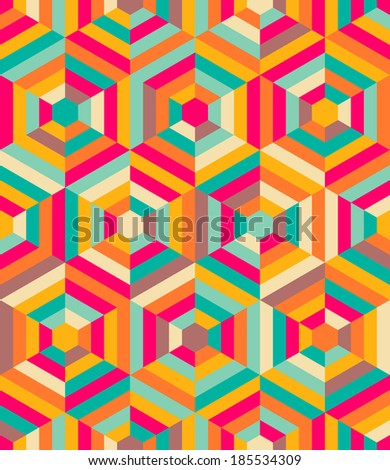 Hexagon mosaic pattern - stock vector