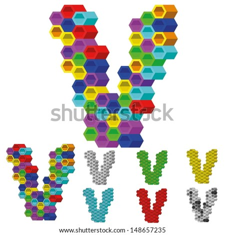Hexagon Pattern 3D Vector Alphabet