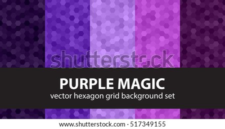 "Hexagon pattern set ""Purple Magic"". Vector geometric backgrounds"