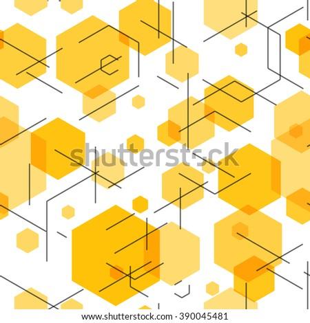 Hexagon seamless tech pattern. Vector illustration EPS10 - stock vector